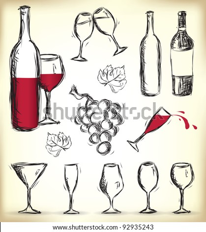 Collection of hand-drawn glasses, bottles of wine and grapes
