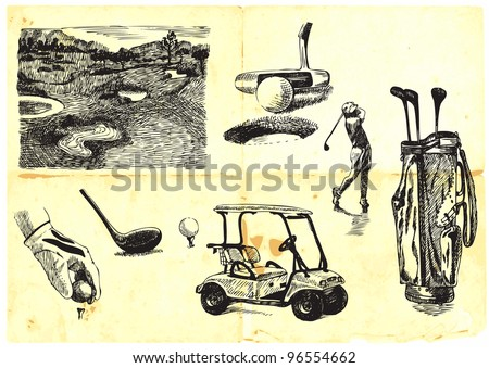 collection of hand-drawn Golf (drawing with a hard tip marker on vintage paper)