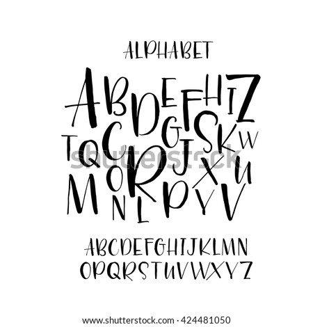 Collection of hand drawn letters. Modern brush calligraphy. Hand drawn vector alphabet. Ink illustration. Hand drawn lettering background. Isolated on white background.