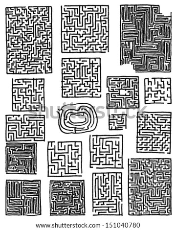 collection of hand drawn mazes