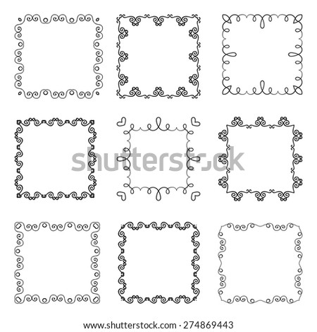 Collection of hand drawn ornamental square frames. Vector illustration