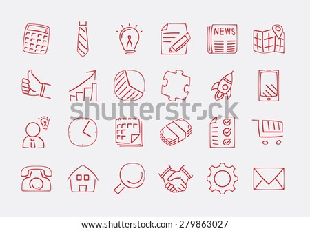 Collection of hand drawn outline business icons - vector illustration
