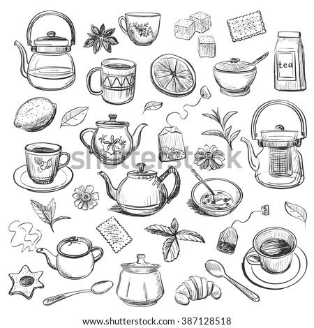 Collection of hand drawn sketches on the theme of tea. Teapots , cups , other utensils , spices and additives for tea .