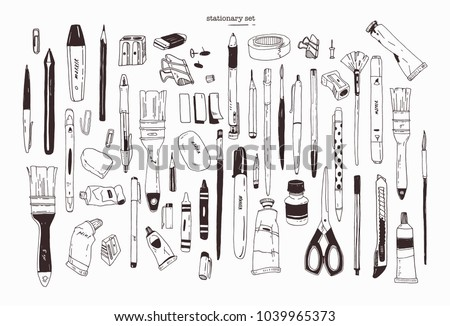 Collection of hand drawn stationery, writing utensils. Set of office and art supplies isolated on white background - brush, pen, pencil, marker, eraser, paint, sharpener. Contour vector illustration. stock photo