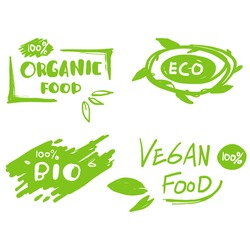collection of hand drawn symbol element for Vegan, eco, bio, organic, fresh, healthy, 100 percent, natural food, Natural product. with doodle style.vector
