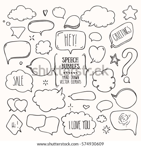 Collection of hand drawn think & talk speech bubbles with love message, greetings and sale ad. Doodle style comic balloon, cloud, heart shaped design elements. Isolated vector set.