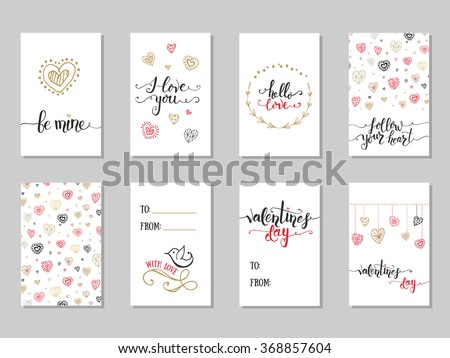 Collection of  hand drawn Valentine's Day cute ready-to-use gift cards.lettering typography text, badge,icon.Celebration poster, postcard, invitation, banner.Romantic quote vector lettering typography #368857604