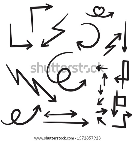collection of Hand drawn vector arrows doodle isolated on white background. design element vector illustration.