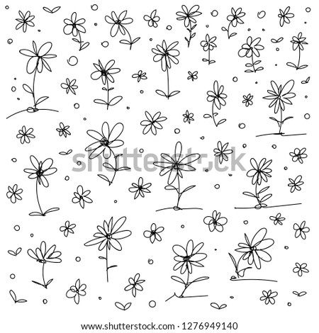 collection of hand drawn vector flowers for patterns and catchy design highlights