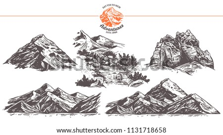 Collection of hand drawn vector illustration of mountains. Rocks and waterfall  in sketch engraving style for adventure design