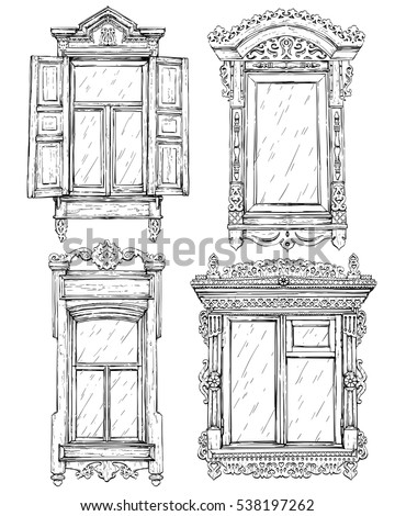 Collection of hand drawn vintage windows. Vector illustration