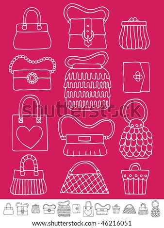 collection of hand drawn womens handbags and purses on pink