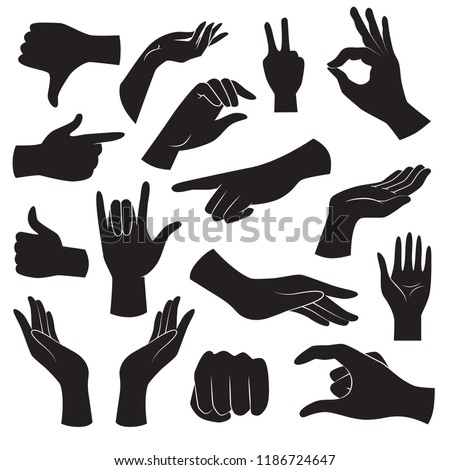 Collection of hand gesture icons. Vector art.