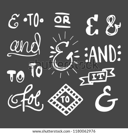 Collection of hand lettered ampersands and catchwords isolated on dark background. Great vector design set for wedding invitations, save the date cards and other stationary type of design