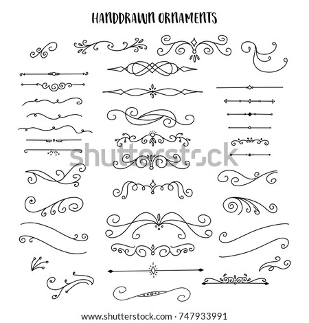 Collection of Handdrawn swirls and curles. Design element of ornaments for wedding cards, in invitations, save the date cards, flyers for restaurant