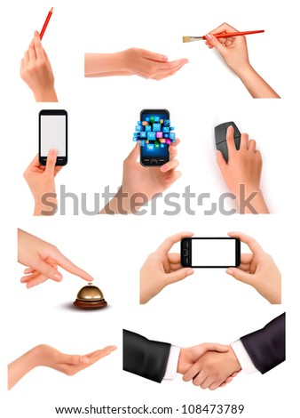 Collection of hands holding different business objects. Vector illustration
