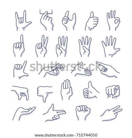 Collection of hands in different gestures. Vector line icons