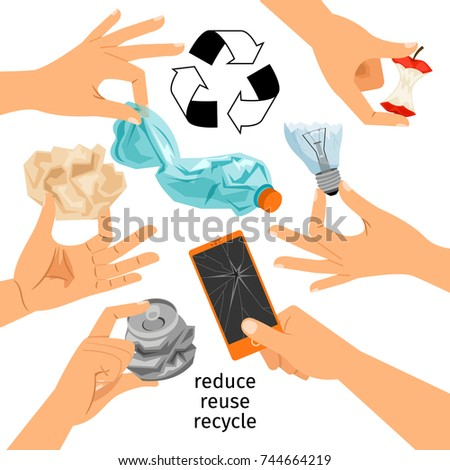Collection of hands with trash, garbage recycle vector illustration
