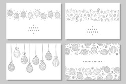 Collection of happy easter cards. Hand drawn easter banners in doodle style. Vector illustration.