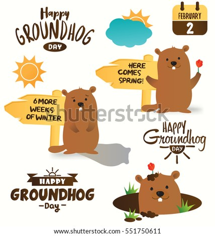 collection of happy groundhog