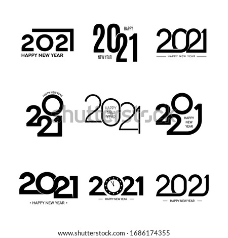 Collection of 2021 happy new year signs. Collection of 2021 happy new year symbols. Vector illustration with black holiday labels isolated on white background.