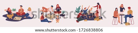 Collection of happy people playing board  games together. Home leisure activities for friends or family members. Stay at home activities. Vector illustration in flat style.
