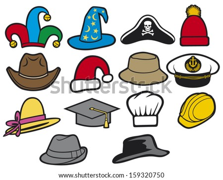 collection of hats jester hat bucket hat lady's hat cowboy hat fedora hat santa claus hat construction workers hard hat military officer's cap wizard hat graduation cap chef hat
