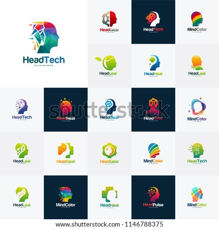 Collection of Head intelligence logo designs concept vector, Head Tech, Colorful Mind, Nature Head, Head Heal logo template vector