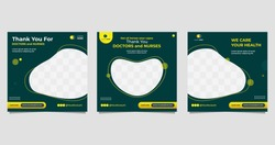 Collection of health social media post templates with green and yellow background. Suitable for medical concept, Not all heroes wear capes