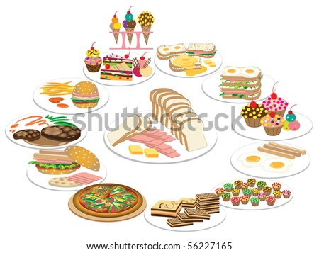 Collection of Healthy food and Hot Meat Dishes. Vector illustration