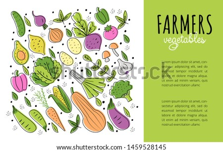 Collection of healthy organic eco vegetarian food. Ecology fresh from farm vegetables. Flyer or poster templates with text place for farm festival, green market, grocery shop advertisement.