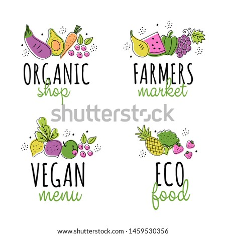 Collection of healthy organic eco vegetarian food. Logo design vector template. Ecology fresh from farm vegetables and fruits. Logotype concept icon.
