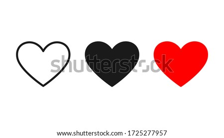 Collection of Heart icon, Symbol of Love Icon flat style modern design Isolated on Blank Background. Vector illustration.