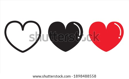 Collection of Heart icons. Modern symbol of Love Icon. heart shape vector designs, flat style isolated on white background. Vector illustration.