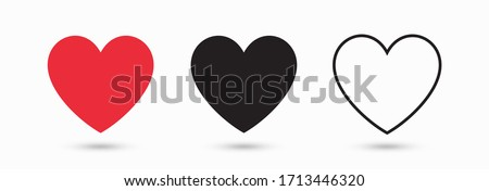 Collection of heart illustrations, Love symbol icon set, love symbol vector.