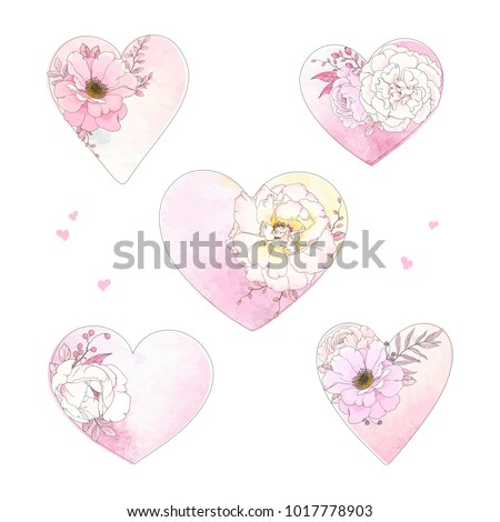 Collection of hearts with flowers Roses and leaves on watercolor texture. Vector floral illustration in pastels colors.