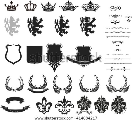 Collection of heraldic silhouette symbol, illustration isolated on white background