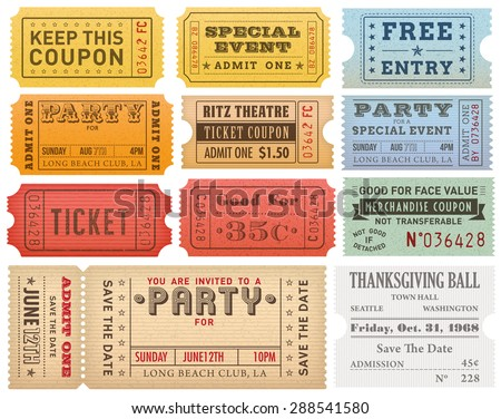 Collection of High detail Vintage grunge Tickets and Coupons vector illustrations - Shutterstock ID 288541580