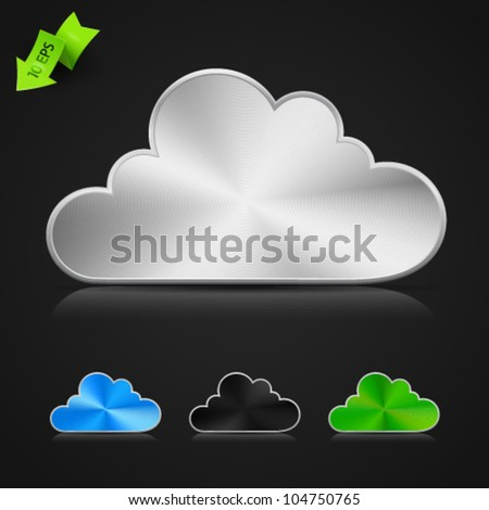 Collection of high-detailed XXL metallic buttons in form of clouds, in tree colors with transparent reflection and shadow. Image contains transparency - you can put them on every surface. 10 EPS - stock vector
