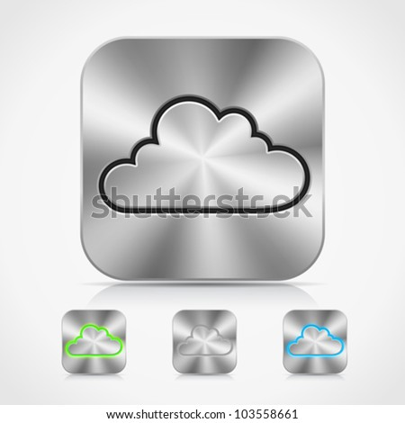 Collection of high-detailed XXL metallic buttons with cloud icons, with transparent glow effect, reflection and shadow. Image contains transparency - you can put them on every surface. 10 EPS