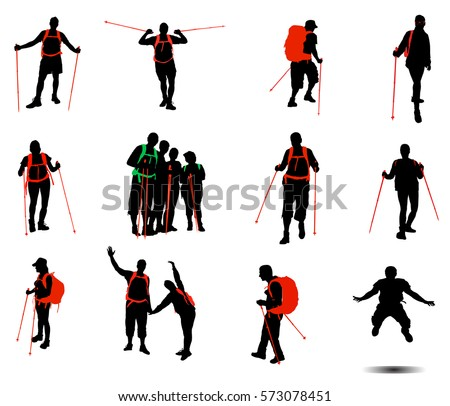 Shutterstock Collection of hikers vector silhouettes