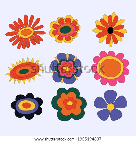 collection of hippie flowers. vintage vector wildflowers.Funky and groove isolated plant elements.Plants of the 60s and 70s.Naive childish style by hand.Open-air flower festival.For plotter silhouette Zdjęcia stock ©