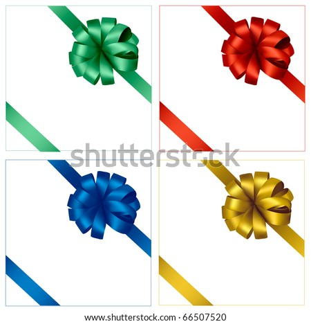 Collection of holiday colored bows with ribbons. Vector.