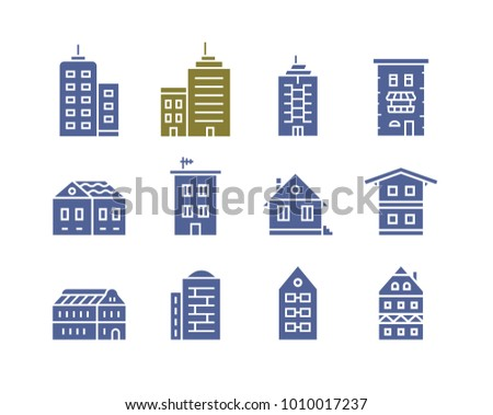 Collection of home and house icons. City building vector icon set.