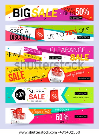 Shutterstock Collection of horizontal holiday sale banner template. Vector illustrations.