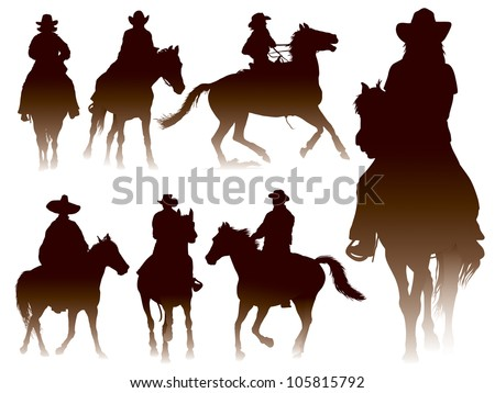 Collection of horseback riding silhouettes