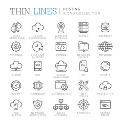 Collection of hosting thin line icons. Vector eps 8