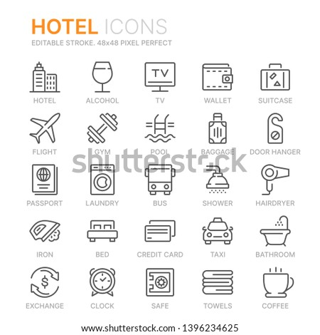 Collection of hotel line icons. 48x48 Pixel Perfect. Editable stroke