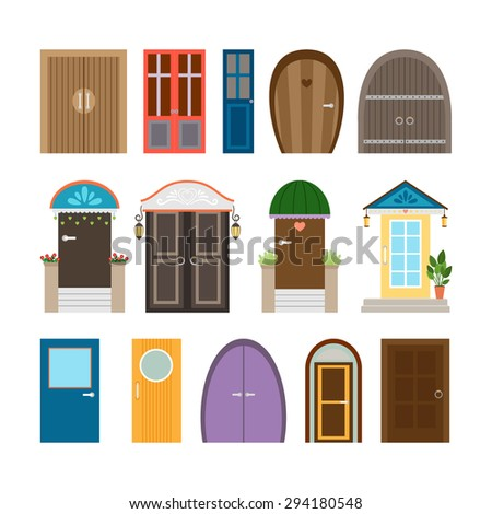 Collection of house doors. Wooden and architecture doorway, entrance and front frame, exit and enter. Vector illustration