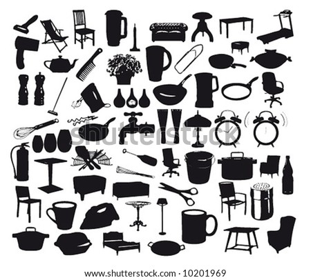 Collection of household items. stock photo